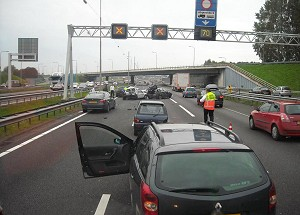 Accident on the A16 motorway in Rotterdam